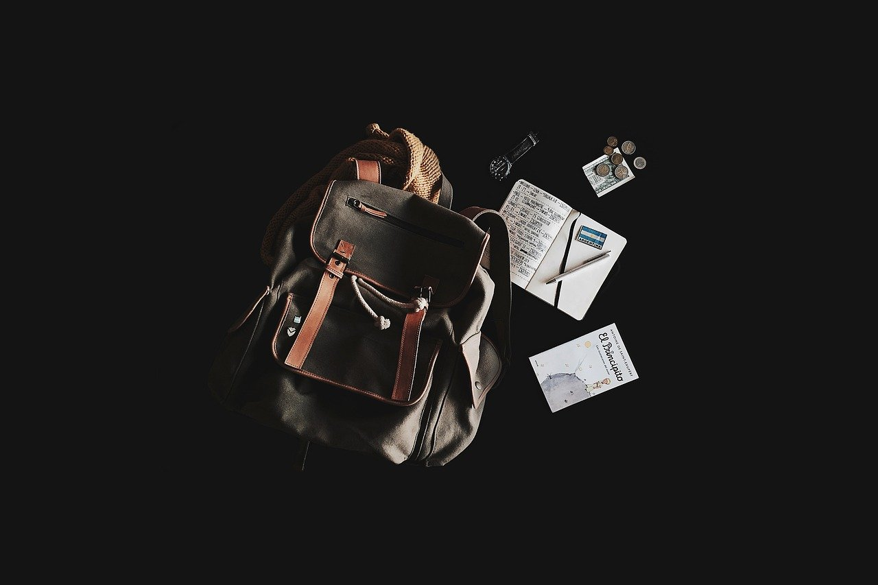 backpack, book, travel bag